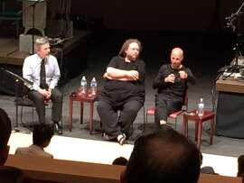 Henry Lowood (left), Jaron Lanier and Sebastian Thrun at Stanford's Bing Concert Hall.