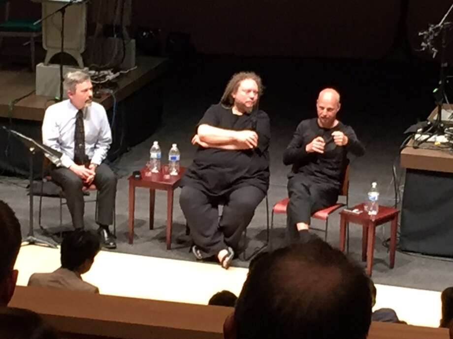 Henry Lowood (left), Jaron Lanier and Sebastian Thrun at Stanford's Bing Concert Hall.