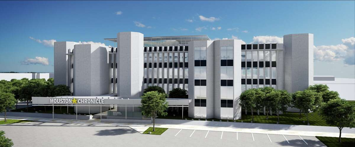 An architect's rendering of 4747 Southwest Freeway: The old Houston Post building, redone as the Chronicle's new home. The Brutalist building is frequently compared to a fortress.