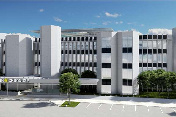 A rendering shows what the facade of 4747 Southwest Freeway could look like after renovations.