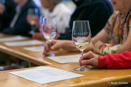 Visitors sample wines at the Wildhurst tasting room in Kelseyville. Photo: Lisa Teso