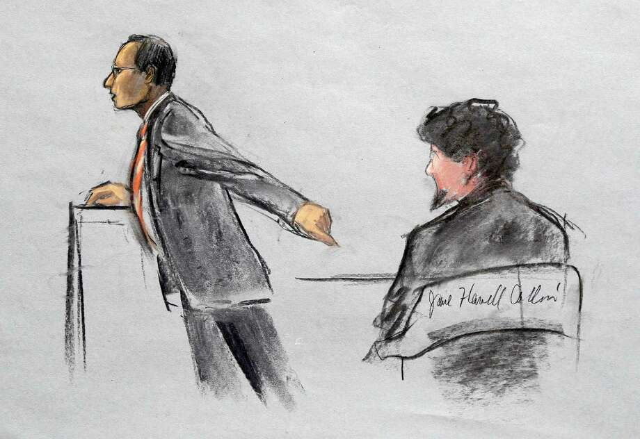 In this courtroom sketch, Assistant U.S. Attorney Aloke Chakravarty is depicted pointing to defendant Dzhokhar Tsarnaev, right, during closing arguments in Tsarnaev's federal death penalty trial Monday, April 6, 2015, in Boston. Tsarnaev is charged with conspiring with his brother to place two bombs near the Boston Marathon finish line in April 2013, killing three and injuring 260 people. (AP Photo/Jane Flavell Collins) Photo: Jane Flavell Collins, FRE / Jane Flavell Collins