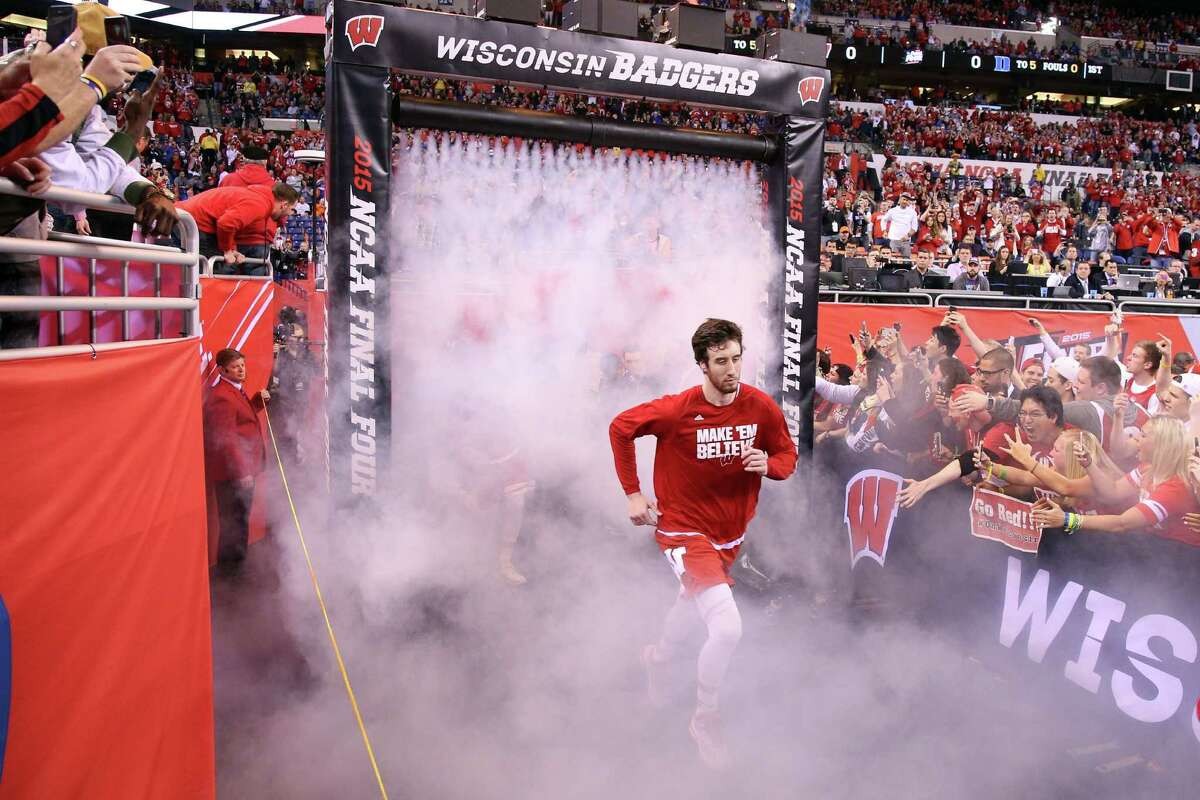 INDIANAPOLIS, IN - APRIL 06: Frank Kaminsky #44 of the Wisconsin Badgers takes the court before the game against the Duke Blue Devils during the NCAA Men's Final Four National Championship at Lucas Oil Stadium on April 6, 2015 in Indianapolis, Indiana.