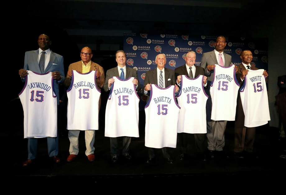 Seven members of the Class of 2015 were on hand in Indianapolis on Monday, including, from left, Spencer Haywood, George Raveling, John Calipari, Dick Bavetta, Louis Dampier, Dikembe Mutombo and Jo Jo White. Photo: Streeter Lecka, Staff / 2015 Getty Images