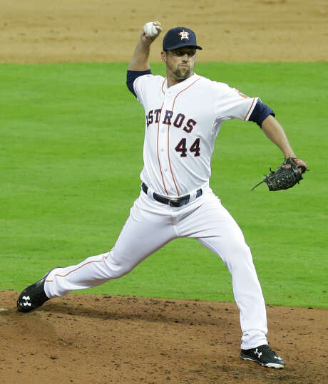 Closer Luke Gregerson retired the heart of the Indians' lineup in order in the ninth inning to record his first save with the Astros. Photo: Melissa Phillip, Staff / © 2015  Houston Chronicle