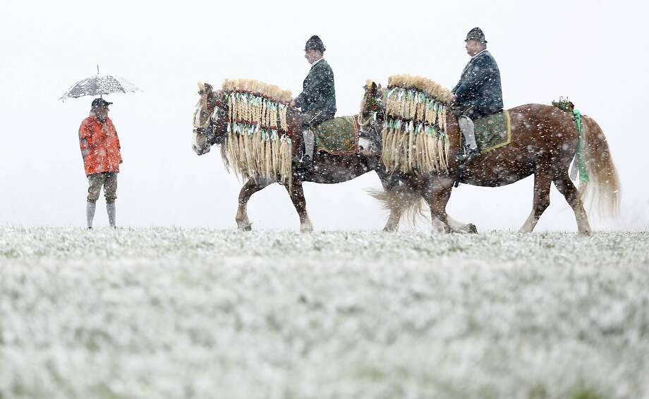 Local residents dressed in traditional Bavarian clothes of the region  ride during  heavy snowfall   at the traditional Georgi  (St, George) horse riding procession on Easter Monday in Traunstein, southern Germany, Monday, April 6, 2015. (AP Photo/Matthias Schrader) Photo: Matthias Schrader, Associated Press