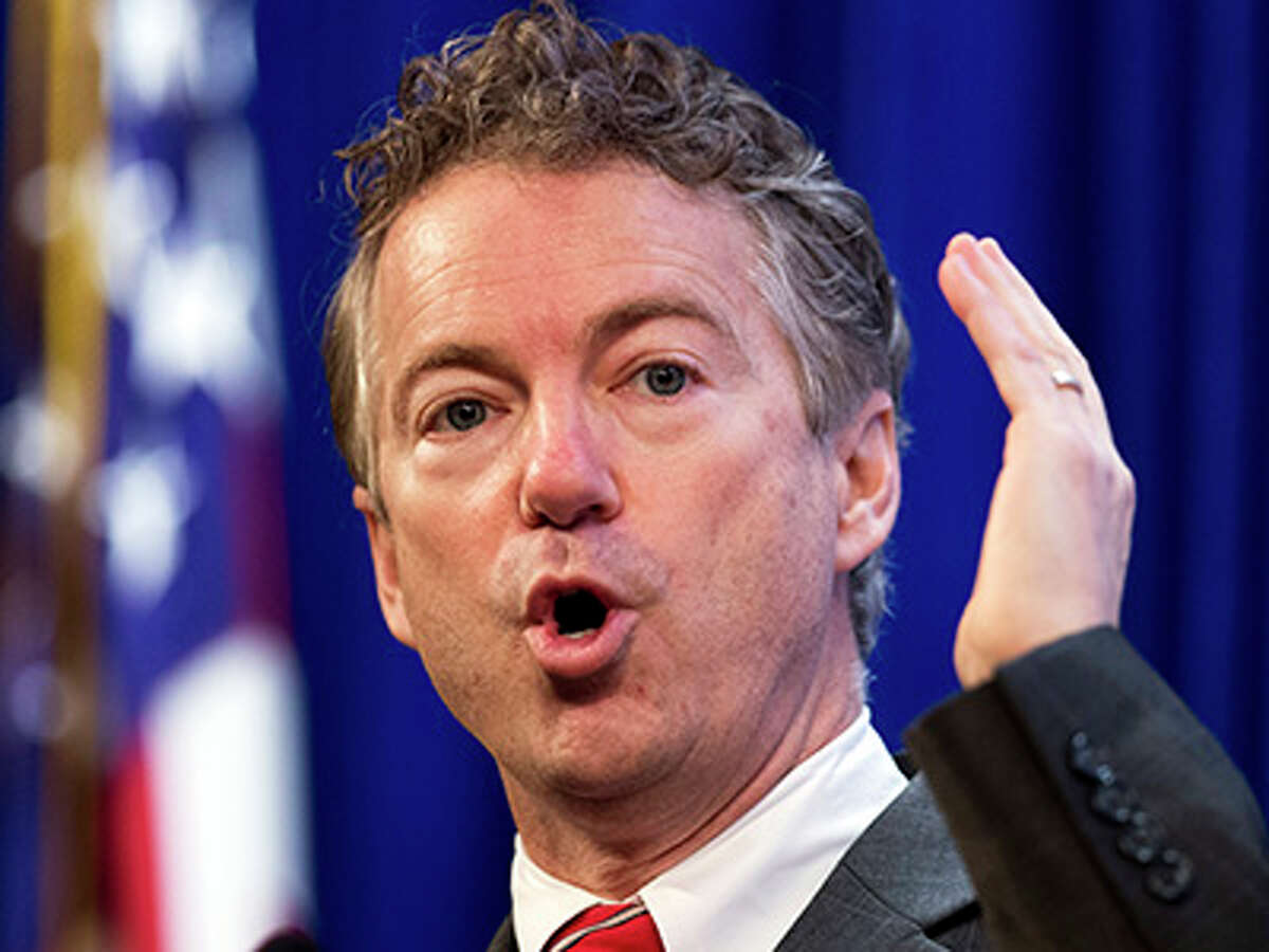 FILE - In this Jan. 13, 2015 file photo, U.S. Sen. Rand Paul, R-Ky., speaks at the Heritage Foundation's Conservative Policy Summit in Washington. Campaigns for president in 2016 haven't officially started. But Kentucky Sen. Rand Paul is among several Republicans testing the political waters, and he's making a stop in Nevada with the state's first-in-the-West Republican caucus is a little more than a year away. Aides say Paul's campaign-style stops Friday, Jan. 16, 2015 at a Las Vegas Strip restaurant and Saturday in downtown Reno will focus on meeting local pastors, business leaders and political activists.