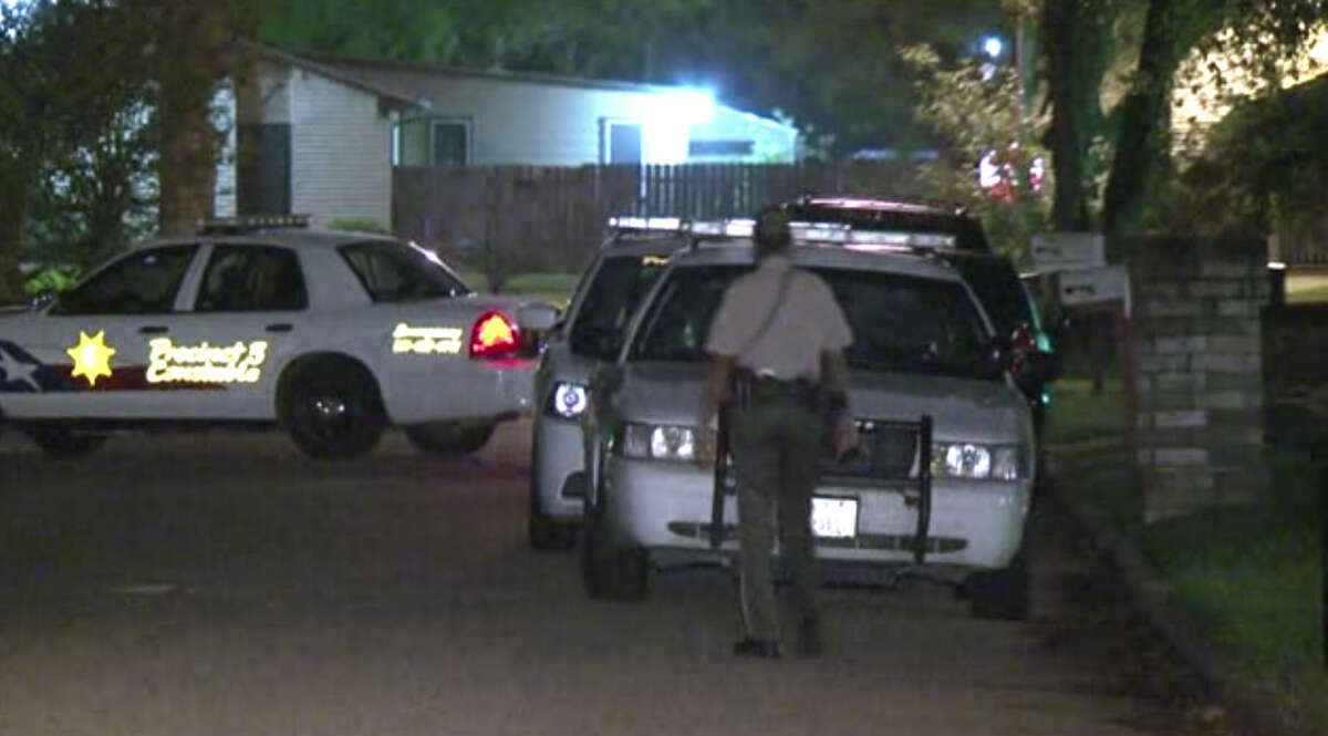 A man grabbed his gun and opened fire on suspects during a shootout early Tuesday morning when they kicked in the door at his home in northeast Harris County in the 14100 block of Merry Meadow.