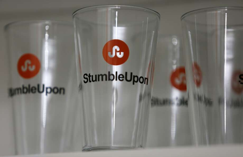 StumbleUpon logo seen on beverage glasses at the office inSan Francisco, California, on Monday, April 6, 2015. Photo: Liz Hafalia, The Chronicle
