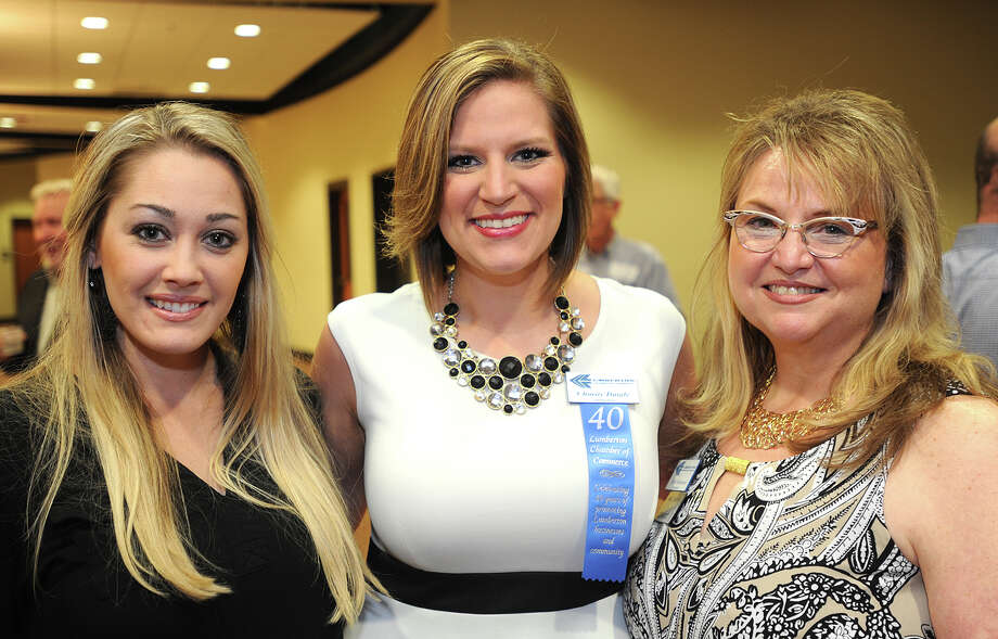 From left, Ashleigh Jenkins, Charity Daigle and Carla Behannon at the Lumberton Chamber Banquet Monday night. Photo taken Monday, April, 06, 2015 Guiseppe Barranco/The Enterprise Photo: Guiseppe Barranco, Photo Editor