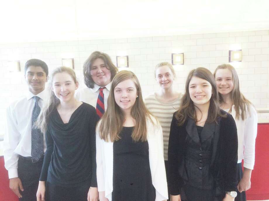 Darien students chosen to perform in The Fairfield County String Teachers Association's 41st annual String Festival included, front row from left, Elizabeth Garijo-Garde, Emily Grandon, and Anna Gil; back rowfrom left, Siddhant Parwal, John Phipps, Kasey Mazzone and, Catherine OíConnor. Not pictured are Julia Tong, Tal Lindsey and Alexander Williams. Photo: Contributed Photo / Darien News