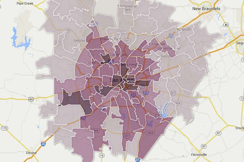2. Singles in San Antonio This may not be much of a surprise, but the outer areas of the city are where the majority of the population is married. As you near downtown, to the darker areas on the map, the concentration of singles intensifies to a high of 96.4% single according to the 2013 American Community Survey.Related: San Antonio named best place for single men