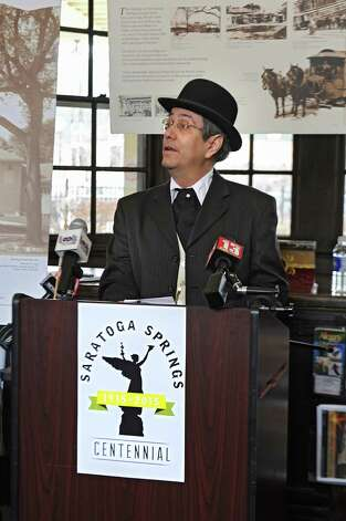 Saratoga Springs Assistant Attorney Anthony Izzo speaks before Mayor Joanne Yepsen and the City Centennial Committee Mark the 100th Anniversary of the April 7, 1915 Incorporation of the City of Saratoga Springs at the Saratoga Springs Visitors Center on Tuesday, April 7, 2015 in Saratoga Springs, N.Y.  (Lori Van Buren / Times Union) Photo: Lori Van Buren / 00031325A