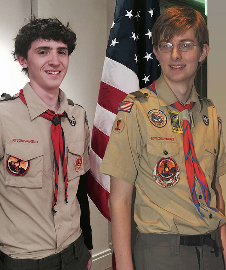 Peter Campbell, left, and Steven Bean have attained the rank of Eagle Scout. Photo: Contributed Photo / westport news