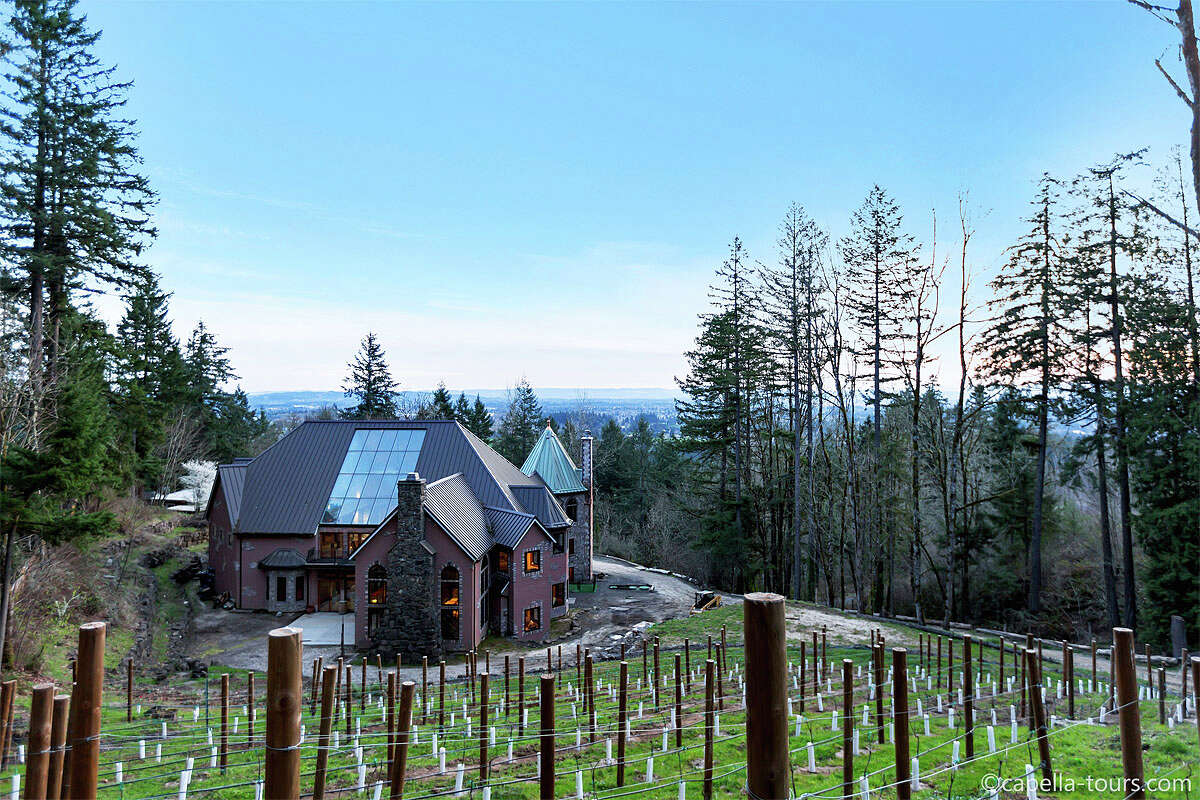 Blackberry Castle, a one-of-a-kind home, is listed for $7.175 million. The castle is in an undisclosed location in Portland, Ore. The five bedroom, five bathroom home sits on 6.4 acres, and features a hillside wine cellar, two-story turret library, atrium bar, home theater, and a rock climbing gym. See the full listing here. (Note: clicking the link will bring you to the listing's page where you will be prompted to sign up to see full details)