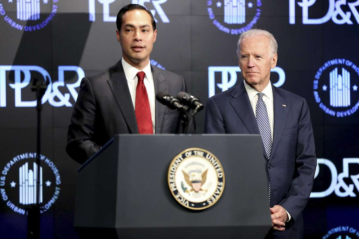 Housing and Urban Development Secretary Julian Castro introduces Vice President Joe Biden at a housing development conference Tuesday, April 7, 2015 in Washington.