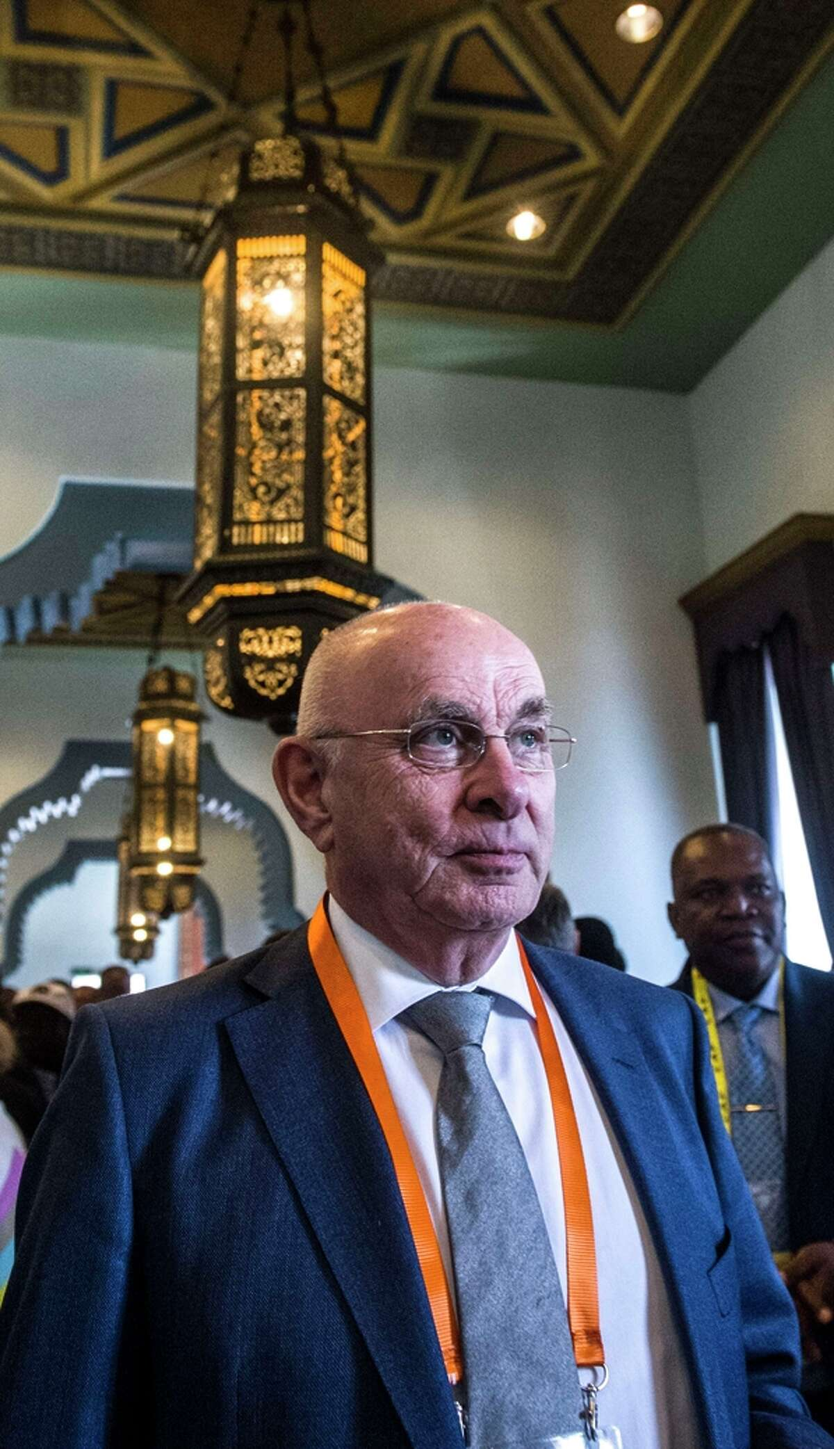 Dutch Football Federation head Michel van Praag, attends the 37th Confederation of African Football (CAF) Ordinary General Assembly on April 7, 2015 in the Egyptian capital Cairo. Outgoing FIFA president Sepp Blatter, whose leadership has been plagued by scandal, has headed FIFA since 1998, and is now competing against three rivals for the top world football job -- Jordanian Prince Ali bin Al Hussein, Dutchman Michel van Praag and former Portugal star Luis Figo. AFP PHOTO / KHALED DESOUKIKHALED DESOUKI/AFP/Getty Images