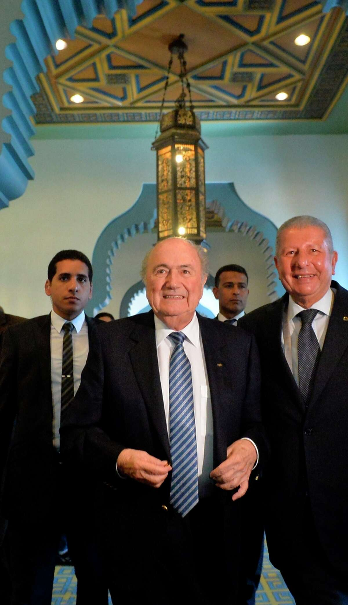 Sepp Blatter (center) was re-elected FIFA president in 2002, 2007 and 2011.