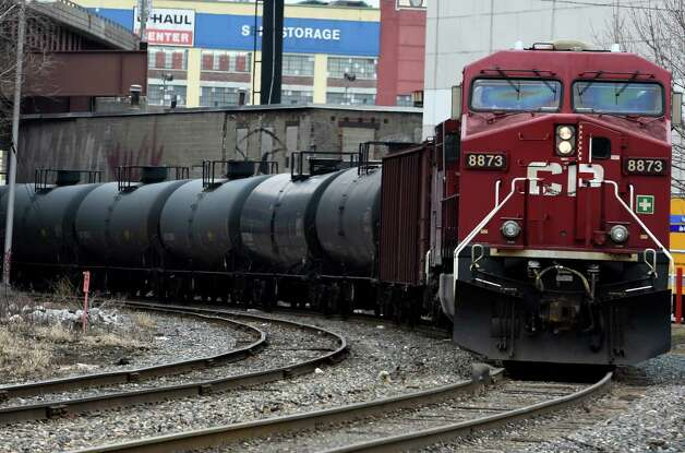 Rail tanker cars are moved from the yard at the Port of Albany Tuesday, April 7, 2015, in Albany, N.Y. (Skip Dickstein/Times Union)