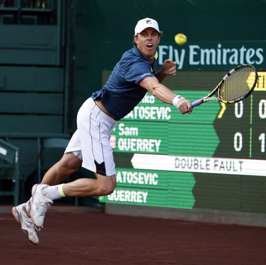Action and scene from the U.S. Clay Courts Championships. River Oaks Country Club, 1600 River Oaks Blvd. ID: Sam Querrey of the USA. In the first set Sam Querrey was leading his opponent Marinko Matosevic of Australia 4-1 when Matosevic retired due to a leg injury. Monday  April 6, 2015 (Craig H. Hartley/For the Chronicle) Photo: For The Chronicle
