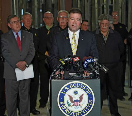 Congressman Chris Gibson speaks inside the Harvey E. Stoddard Public Safety Facility which is still in disrepair Tuesday April 7, 2015 three years after Hurricane Irene in Schoharie, N.Y.  Congressman Gibson and other local elected officials met with the media at the facility to talk about FEMA's response to the needs of the Schoharie County Sheriff's Department.  (Skip Dickstein/Times Union) Photo: SKIP DICKSTEIN / 00031330A