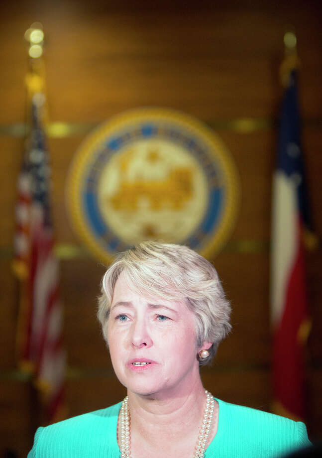 """Mayor Annise Parker says on Tuesday that the objections to the equal rights law over fears that sexual predators would be allowed into restrooms are """"bunk.""""  She says the city is prepared to face any additional legal challenges to the ordinance that  might emerge. Photo: Cody Duty, Staff / © 2015 Houston Chronicle"""