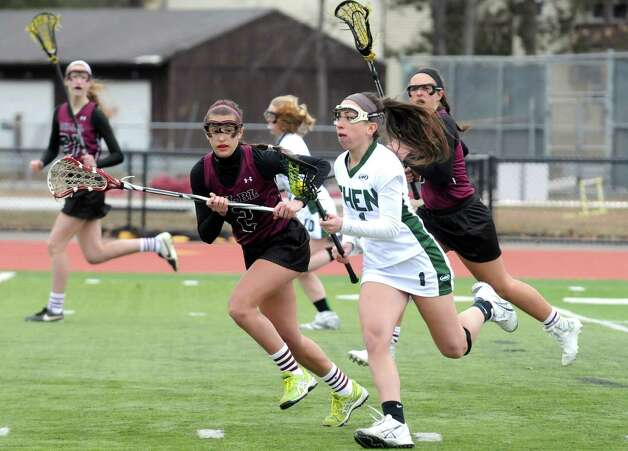 Shenendehowa's Katie Kerner brings the ball up the filed during their girls' high school lacrosse game against Burnt on Tuesday, April 7, 2015, in Clifton Park, N.Y. (Michael P. Farrell/Times Union) Photo: Michael P. Farrell / 00031329A