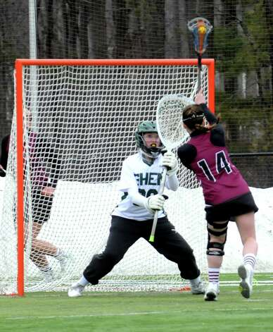Burnt Hills Taylor Safford,14, put this shot past Shen goalie Lexi Keen during their girls' high school lacrosse game on Tuesday, April 7, 2015, in Clifton Park, N.Y. (Michael P. Farrell/Times Union) Photo: Michael P. Farrell / 00031329A