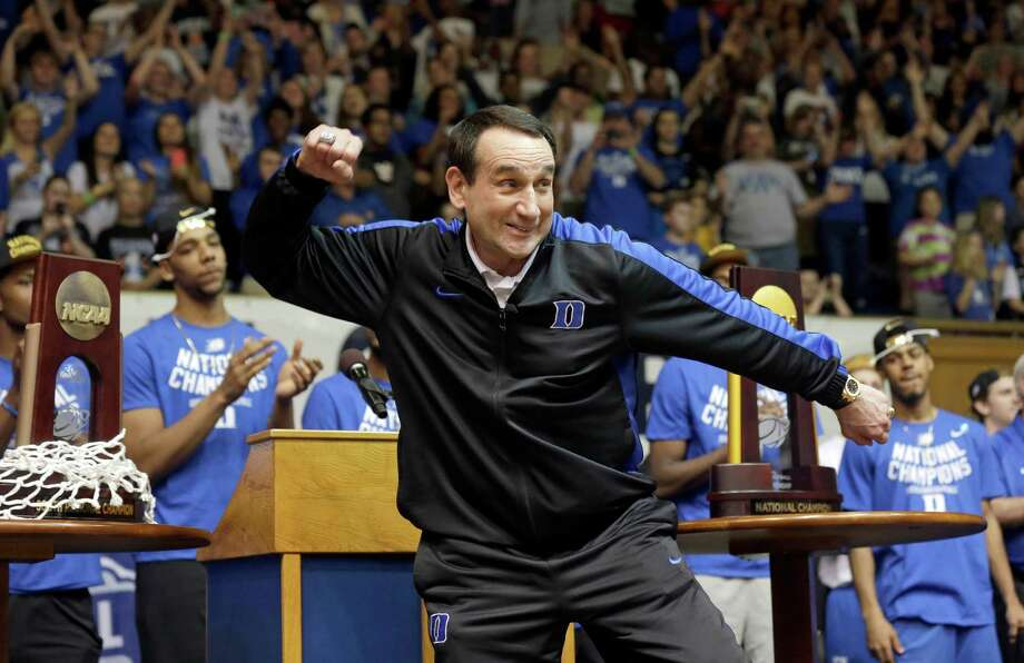 The normally mild-mannered Mike Krzyzewski goes into Cameron Crazy mode during a homecoming celebration of Duke's national championship on Tuesday at Cameron Indoor Stadium. Photo: Gerry Broome, STF / AP
