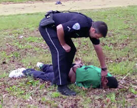 A frame from the video of Walter Scott's killing and the aftermath.
