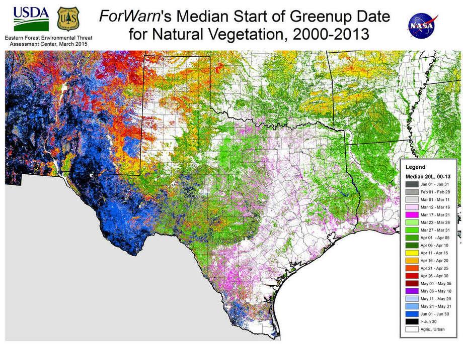 Map Of Texas 2015.Nasa Satellites Map Springtime Across The Country Houston Chronicle