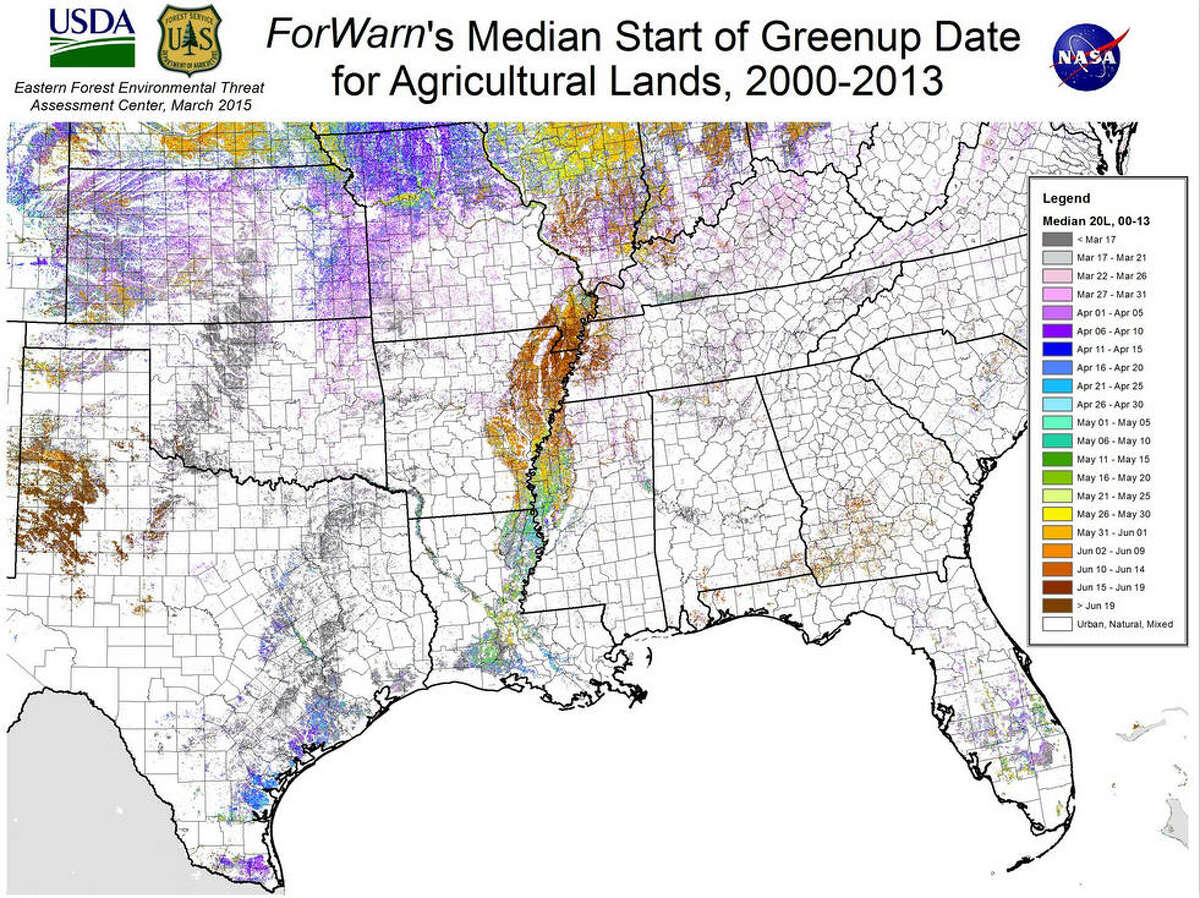 Approximate median greenupdates for agricultural lands in the South Source: U.S. Forest Service/U.S. Department of Agriculture