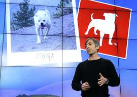 Back in his first stint as CEO in 2012, Mark Pincus talks about the Zynga logo during an announcement at the company's headquarters in San Francisco.