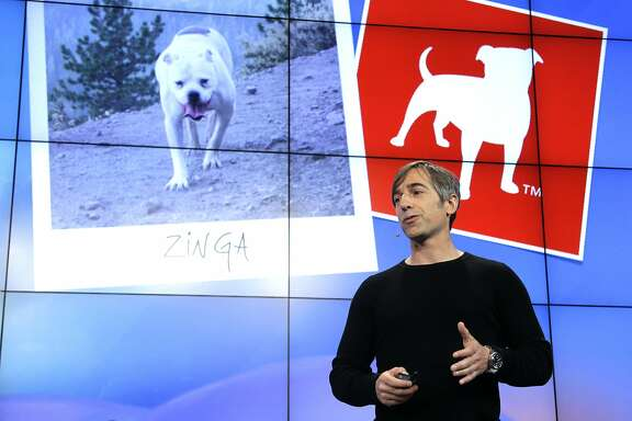 FILE - In this Tuesday, June 26, 2012, file photo, Zynga CEO Mark Pincus talks about the Zynga logo during an announcement at Zynga headquarters in San Francisco. Effective Wednesday, April 8, 2015, Pincus is back as CEO of Zynga, the online game company he founded and two years ago turned over to Don Mattrick, the former head of Microsoft's Xbox division. (AP Photo/Paul Sakuma, File)