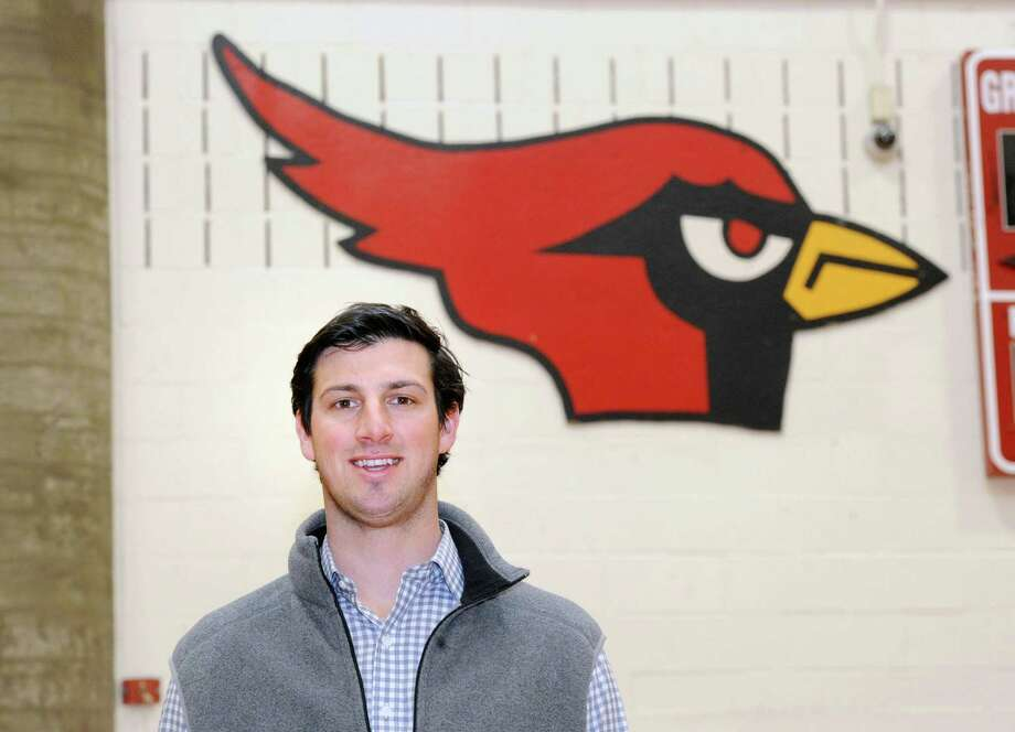 John Marinelli was named the new Greenwich High School football coach during an announcement at the school in Greenwich, Conn., Wednesday, April 8, 2015. Marinelli is the son of New Canaan High School football coach, Lou Marinelli. John Marinelli served as an assistant football coach at New Canaan High School under is father. Photo: Bob Luckey / Greenwich Time