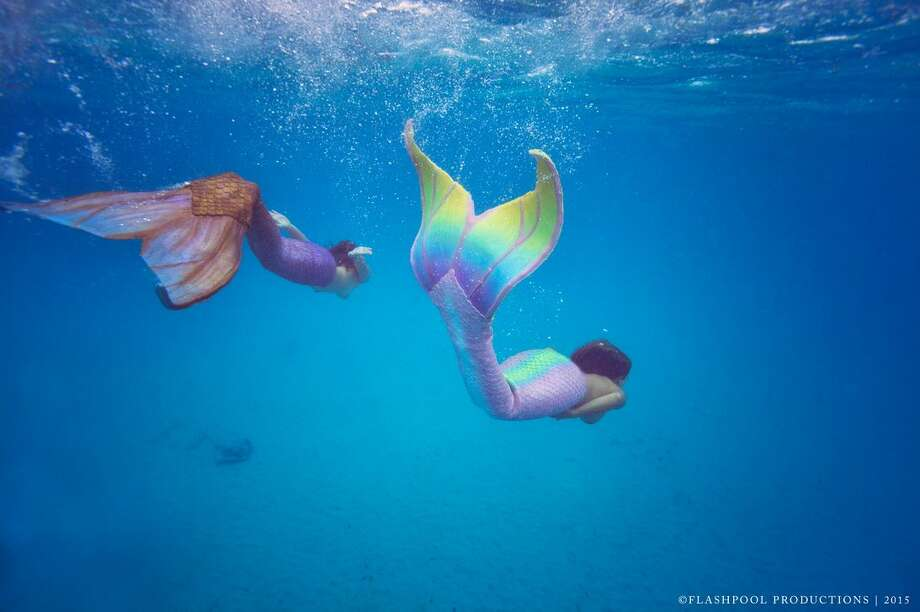 Sirenalia mermaids swim with sharks and manta rays in the Great Barrier Reef of Belize. Photo: Mendoza, Madalyn S, Provided By Sirenalia