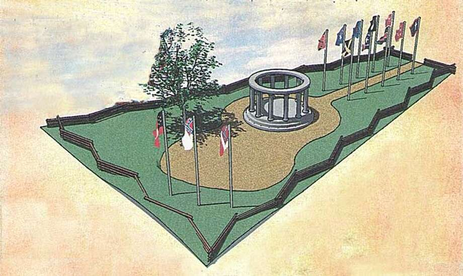 An artists rendition of the monument nearing completion in Orange, Texas, soon to be the biggest in the state. It will fly the battle flags of 26 Texas battalions who joined the war effort, plus the six national flags of the Confederacy, all within view of Interstate 10. Photo courtesy of the Sons of Confederate Veterans.