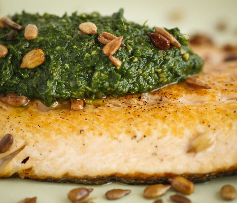 Nettle-Sunflower Seed Sauce With McFarland Springs Trout is seen on Wednesday, April 8, 2015 in San Francisco, Calif. Photo: Russell Yip, The Chronicle