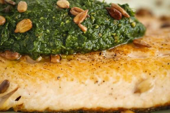 Nettle-Sunflower Seed Sauce With McFarland Springs Trout is seen on Wednesday, April 8, 2015 in San Francisco, Calif.