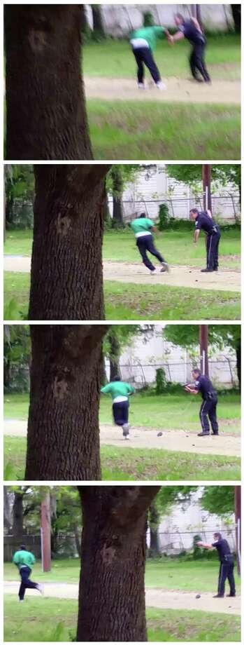 These images are from a video provided by an attorney representing the family of Walter Scott Jr, Scott appears to break away from a confrontation with city patrolman Michael Slager, right. Photo: HONS / L. Chris Stewart