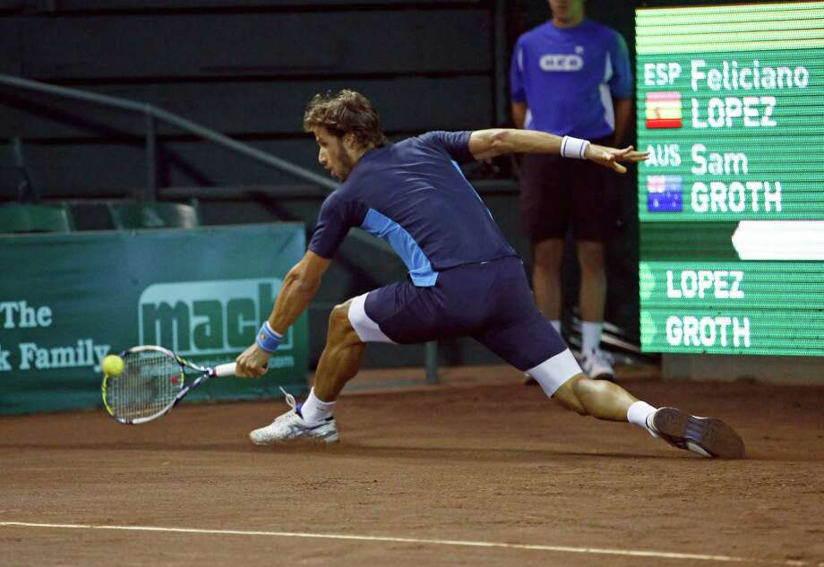 Top-seeded Feliciano Lopez shows off his court coverage in a win over Sam Groth. Photo: Craig Hartley, Freelance / Copyright: Craig H. Hartley