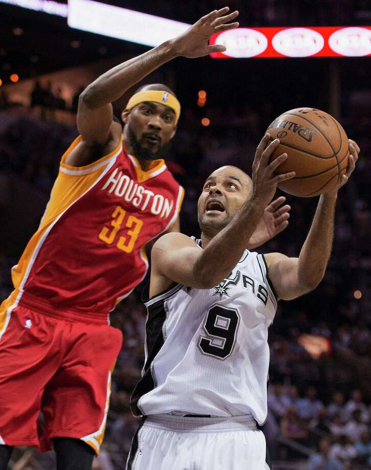 Spurs guard Tony Parker (9) was a handful for Corey Brewer and the Rockets on Wednesday, scoring 27 points in 26 minutes during San Antonio's 110-98 victory. Photo: Darren Abate, FRE / FR115 AP