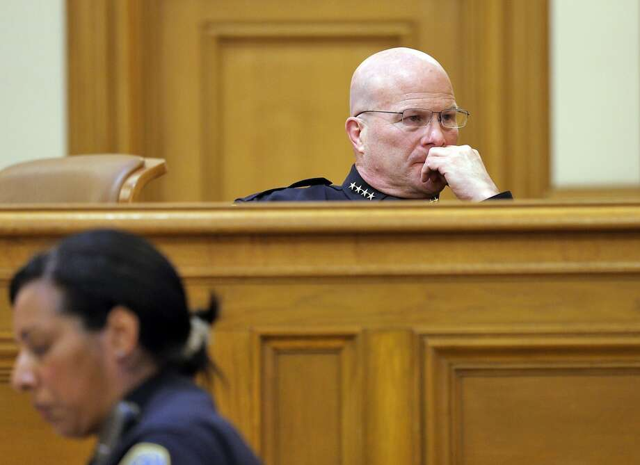 San Francisco Police Chief Greg Suhr looks at a screen during the San Francisco Police Commission meeting on  Wednesday, April 8, 2015, in San Francisco, Calif. The fate of several San Francisco Police officers involved in racist and homophobic text messaging was under consideration by the commission in a closed session later in the meeting. Photo: Carlos Avila Gonzalez, The Chronicle