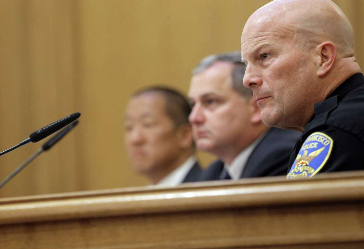 S.F. Police Chief Greg Suhr listens to a speaker during the Police Commission meeting where the fate of several officers involved in bigoted text messaging was under consideration by the commission in a closed session later in the meeting.