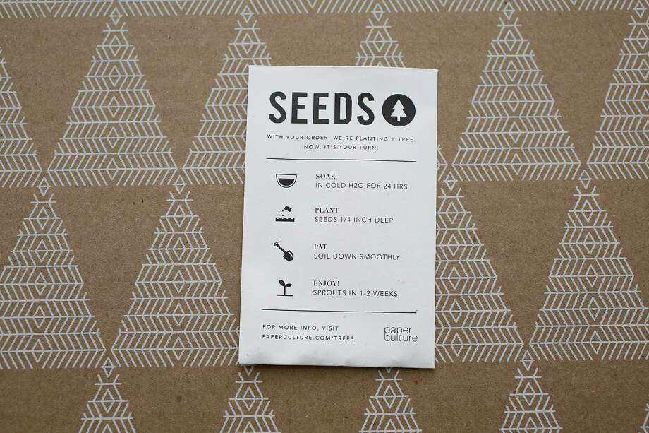 Paper Culture, an e-commerce platform delivering eco-friendly products, offers packets of tree seeds in a reusable box. Photo: Liz Hafalia / The Chronicle / ONLINE_YES