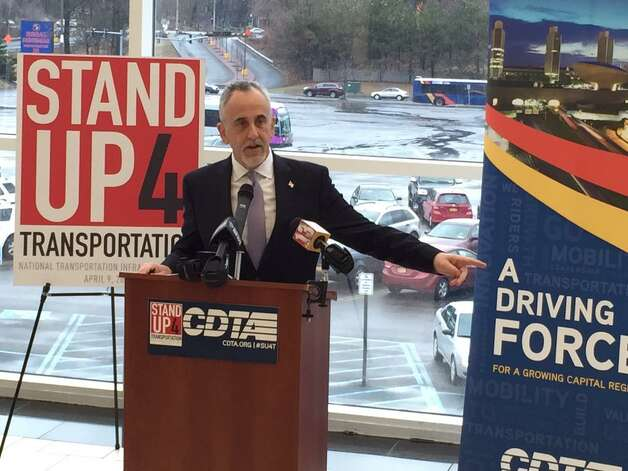 Capital District Transportation Authority CEO Carm Basile calls on Congress to support public transportation on Thursday, April 9, 2015. Basile spoke at Crossgates Mall where the bus service hopes to build a new station. (Skip Dickstein / Times Union)