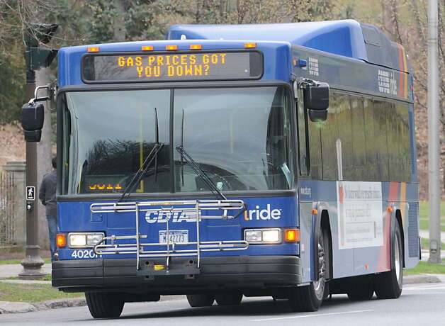 A CDTA bus rides on Broadway Thursday March 29, 2012 in Saratoga Springs, N.Y. (Lori Van Buren / Times Union)