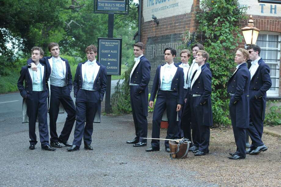 Olly Alexander (Toby), Douglas Booth (Harry), Sam Claflin (Alistair), Max Irons (Miles), Ben Schnetzer (Dimitri), Sam Reid (Hugo), Matthew Beard (Guy), Jack Farthing (George), Freddie Fox (James), and Josh Connor (Ed) in Lone Scherfig's THE RIOT CLUB. Photo: Nicola Dove