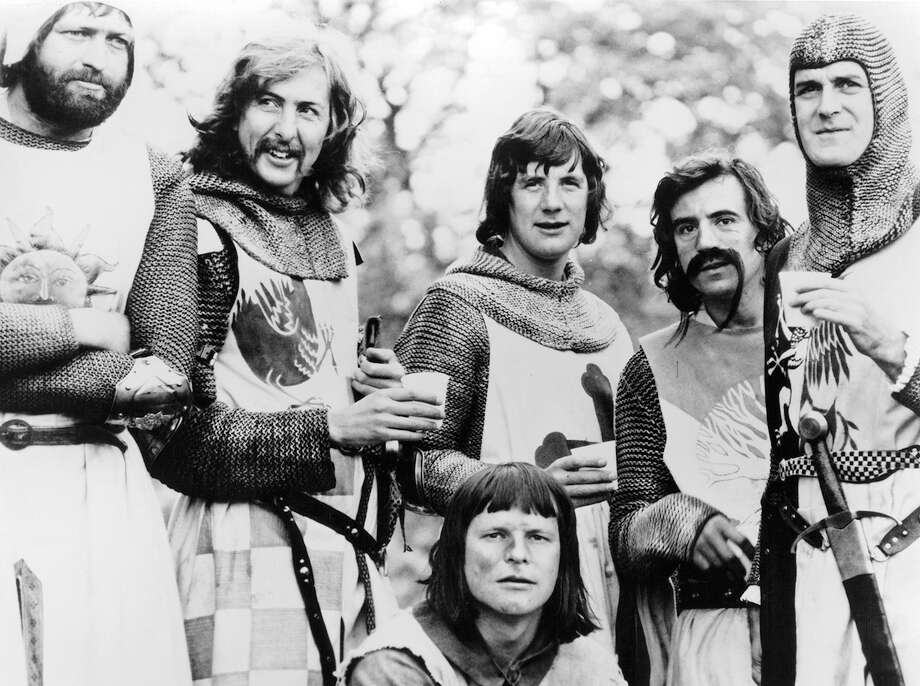 "On April 9, 1975, 'Monty Phyton and the Holy Grail' hit theaters in London as has remained a cult classic ever since.Click through the photos to see more from the film and a look back at Python.Above: Graham Chapman, Eric Idle, Terry Gilliam, Michael Palin, Terry Jones, and John Cleese standing together in a scene from the film ""Monty Python And The Holy Grail,"" 1975. Photo: Archive Photos, Getty Images / 2012 Getty Images"