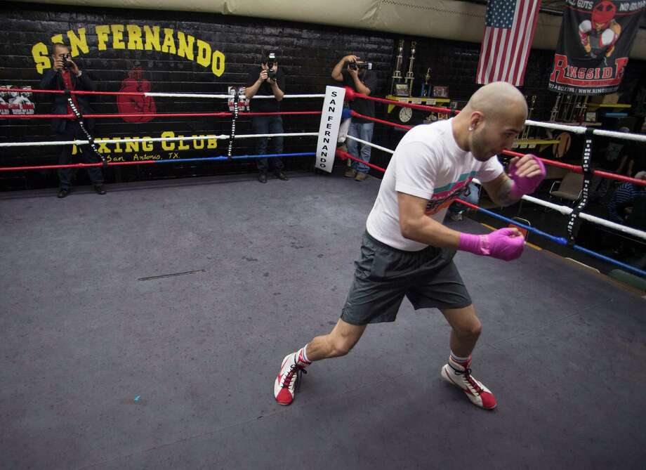 Boxer James Leija Jr. practices in the ring during a media event, Wednesday, April 8, 2015, at San Fernando Boxing Club in San Antonio. Photo: Darren Abate /For The Express-News / Express-News